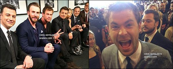 . 13/04/2015 : Chris   à fait une apparition sur le plateau de Jimmy Kimmel pour promouvoir Avengers 2  .