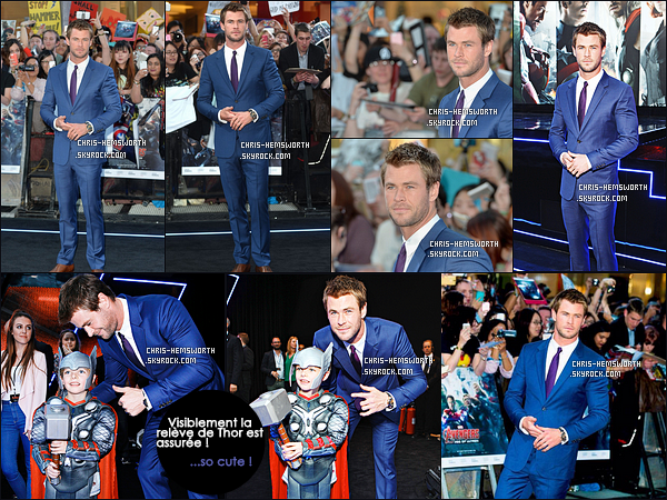 . 21/04/2015 : Chris   était avec ses co-stars à la première de  Avengers l'Ere d'Ultron à Londres en Angleterre Chris Hemsworth était comme d'habitude  très élégant et a posé avec son co-star Robert Downey Jr (alias Iron Man).