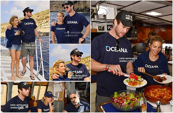 . 20/06/2015 : Chris Hemsworth et sa femme Elsa Pataky étaient sur un bâteau avec une équipe de scientifiques  Le couple ont explorés les îles Comino, L'expédition durera deux mois, Elsa et Chris sont tellement mignons et complices tous les deux.