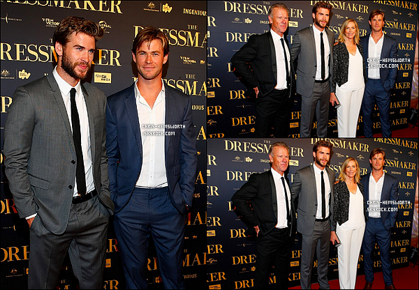 """18/10/2015 : Chris assistait à l'avant première du film """"The Dressmaker"""" ou son jeune frère Liam tient un rôle à Melbourne (Australie)"""
