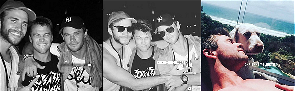 02.01.2016 : Chris , sa femme et ses deux frères : Luke et Liam étaient au festival australien à  Byron Bay