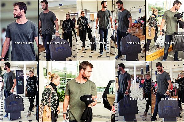 28.01.2016 : Chris Hemsworth  et sa femme Elsa Pataky étaient à l'aéroport de Brisbane en Australie