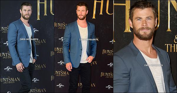 """30.03.2016 : Chris Hemsworth  était à la première de  """"The Huntsman"""" à Hamburg une ville située en Allemagne"""