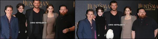 """31.03.2016 : Chris Hemsworth  et une partie du cast étaient à la première de """"The Huntsman"""" à Milan (Italie)"""