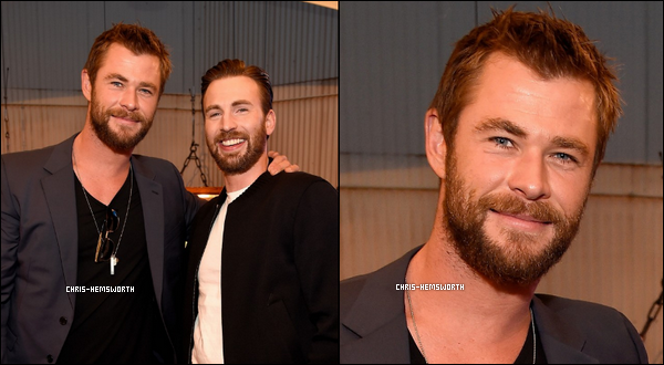 "09.04.2016 : Chris Hemsworth  et Chris Evans étaient présents lors des ""MTV Movie Awards"" à Burbank"