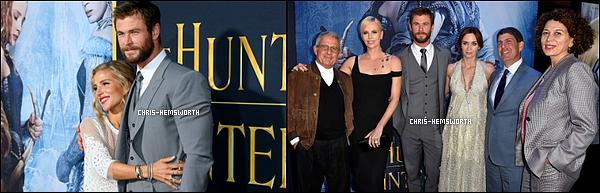 """11.04.2016 : Chris Hemsworth  et sa femme étaient à la première de """"The Huntsman"""" à Westwood (Californie)"""