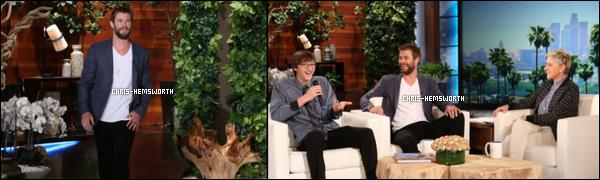 18/04/2016 - Chris Hemsworth a fait une apparition au Ellen Degeneres Show