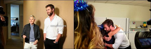"""21/04/2016 - Chris Hemsworth a fait une apparition au """"Late Late show"""" avec James Corden"""