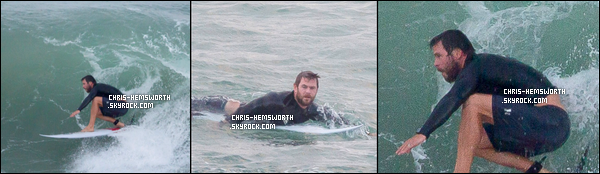 25 et 28.04.2016 : Chris   photographié par son frère Liam était en train de surfer à  Byron Bay en Australie