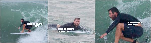 25/04/2016 - Chris Hemsworth photographié par son frère Liam était en train de Surfer à Byron Bay (Australie)