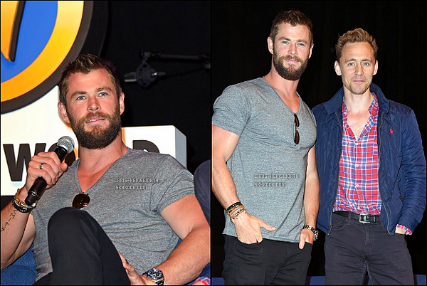 "04.06.2016 : Chris Hemsworth  était avec Tom Hiddleston aux ""Wizard World Comic Con"" à Philadelphia"