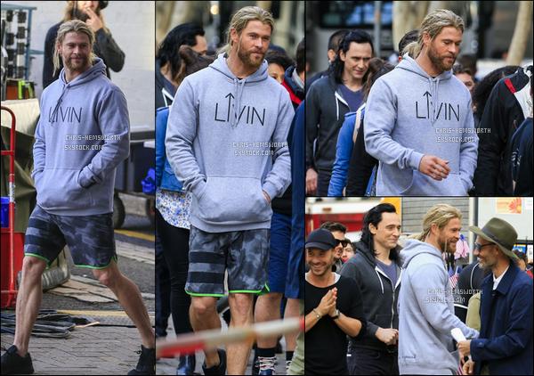 22/08/2016: Chris H.et Tom Hiddleston étaient sur le tournage de Thor : Ragnarok à Brisbane (Australie) Le tournage vient en effet de commencer pour le troisième opus de la saga Marvel : Thor (qui sera la suite du monde des ténèbres)