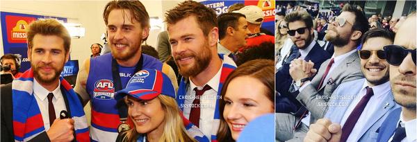 01/10/2016 : Chris , son frère Liam ainsi que leur père assistait à la victoire des Western Bulldogs à Melbourne (Australie)
