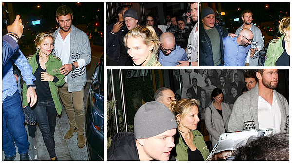 14/01/2017 : Chris , et sa femme Elsa , étaient de sortie avec leur ami Matt Damon et l'épouse de celui-ci : Luciana