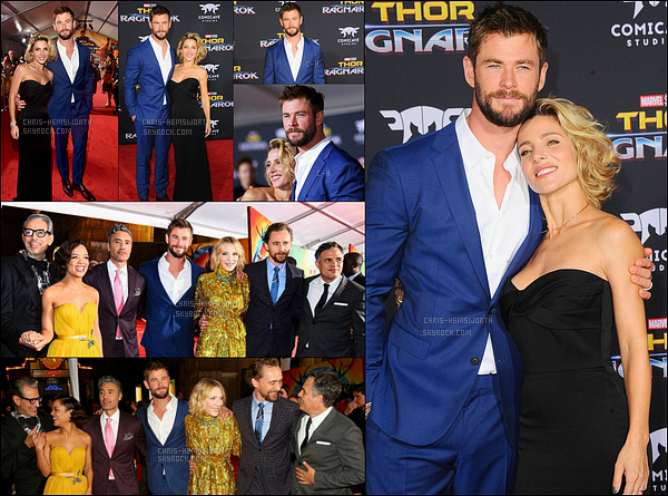 10.10.2017 : Chris, sa femme et le cast étaient à la première de Thor Ragnarok au théâtre Capitan à Hollywood