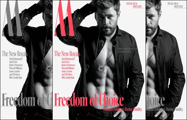 """• •Chris Hemsworth plus sexy que jamais pose pour le magazine""""W"""""""