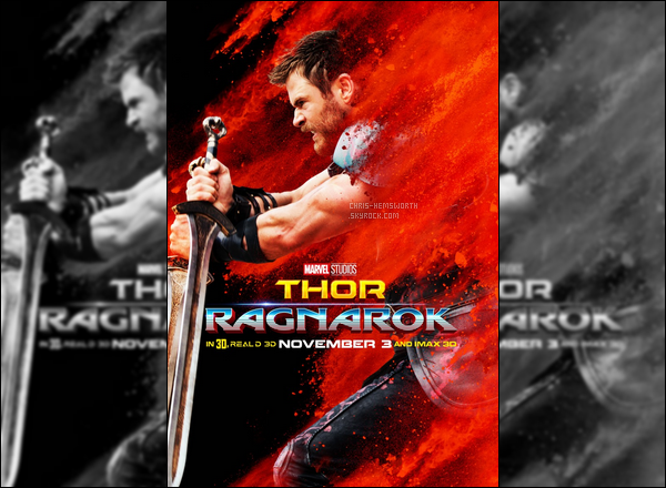 """• •Découvre l'affiche de Thor pour """"Thor Ragnarok"""", la sortie est en Octobre 2017"""