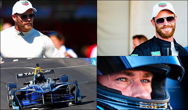 16.07.2017 : Chris Hemsworth a eu l'occasion de rouler sur une piste de Formule E à l'e Prix de New York