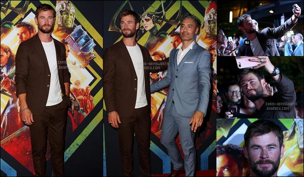 13.10.2017 : Chris a posé avecTaika Waititile nouveau réalisateur à la première de Thor Ragnarok enAustralie