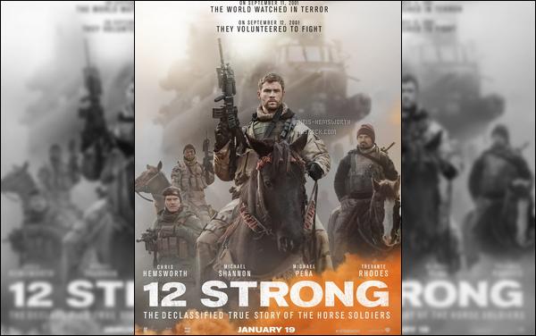 """Nouveau projet pour Chris, il jouera dans  """"12 Strong"""" sortie le 31 Janvier 2018"""