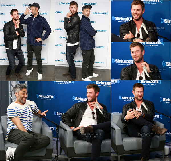 30.10.2017 : Chris Hemsworth continue la promo de Thor Ragnarok et était à la radio SiriusXM à New York