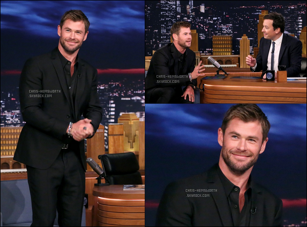 "01.11.2017 : Chris Hemsworth était sur le plateau de Jimmy Fallon pour l'émission ""The Tonight show"""