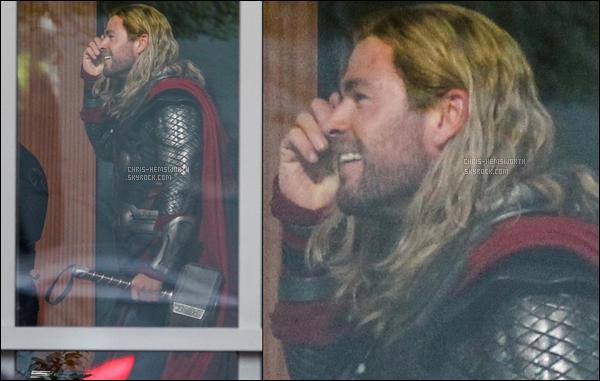 """02.11.2017 : Chris a été une nouvelle fois vu en mode Thor sur le tournage de Avengers 4 """"Infinity war"""" à Atlanta"""