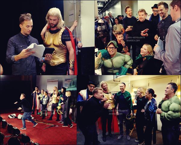 . • CHEZ JAMES CORDEN ─ Chris et le cast de Thor Ragnarok étaient chez James Corden .