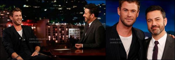 10.01.2018 : Chris , était avec Margot Robbie sur le plateau de Ellen Degeneres - Puis sur celui de Jimmy Kimmel