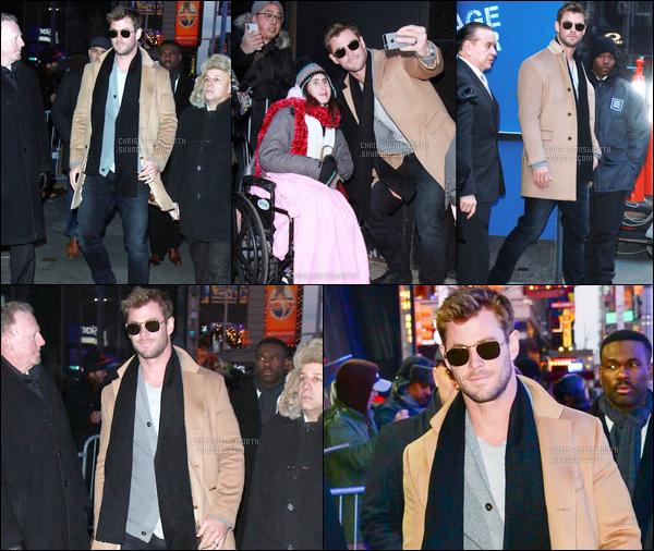 15.01.2018 : Chris , était aux « Good Morning America » pour promouvoir son nouveau film 12 Strong à NY Chris Hemsworth enchaîne les sorties en ce moment, ça fait vraiment plaisir ! il était donc dans la belle ville de New York