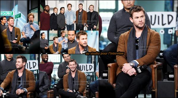 16.01.2018 : Chris , était aux« Studios Build» pour la promo du film 12 Strong - puis a été vu à New-York !  Il a annoncé que son contrat avec Marvel se termine - et donc Chris fera probablement ses adieux à son perso' de Thor !