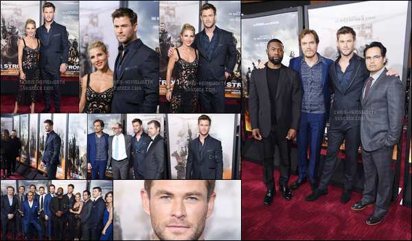 16.01.2018 : Chris , avec sa femme Elsa et le cast' étaient à la première du film « 12 strong» à New-York  + Dans la soirée Chris était à l'after-party , puis également sur le plateau de télé lors de l'émission de Jimmy Kimmel