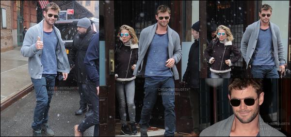 17.01.2018 : Chris , était avec sa femme Elsa Pataky se promenant sous la neige dans la ville de New York