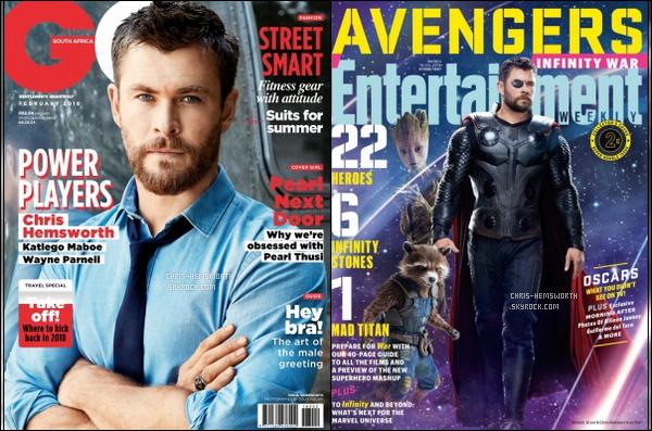 Chris faisait la couverture des magazines  «GQ»   et «ENTERTAINMENT WEEKLY»