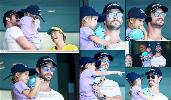 """06.04.2018 : Chris avec sa fille India Rose dans ses bras était aux """"Commonwealth Games"""" en Australie"""