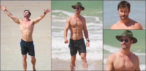 02.04.2018 : Chris , son ami Matt Damon et leurs épouses étaient tous ensembles à  Byron Bay en Australie