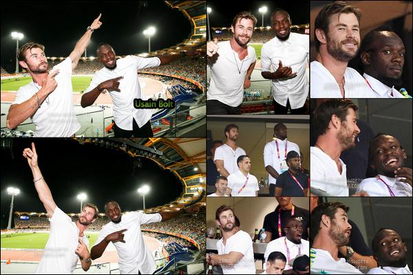 """11 et 12 Avril 2018 : Chris avec Usain Bolt assistait une nouvelle fois aux """"Commonwealth Games"""" en Australie"""