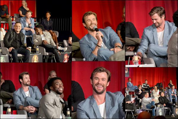 22 Avril 2018 : Chris Hemsworth avec le cast de Avengers Infinity war était à une conférence à Los Angeles