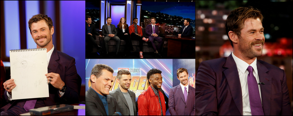 27 Avril 2018 : Chris  continue la promo de Avengers Infinity War et était sur le plateau de Jimmy Kimmel