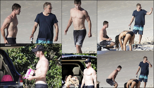 31.05.2018 :  Chris Hemsworth , était avec son ami Matt Damon sur une plage du Queensland en Australie