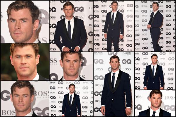 05.09.2018 : Chris Hemsworth était présent sur le red carpet des « GQ Men of the Year Awards » à Londres