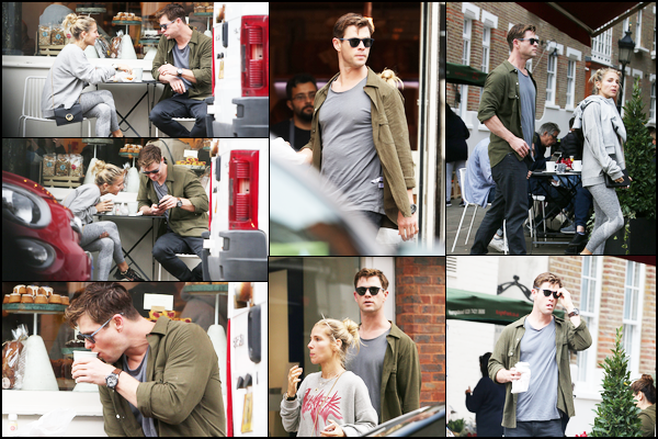 13.09.2018 : Chris Hemsworth et sa femme Elsa Pataky ont été prendre un café au  Gail's bakery à Londres