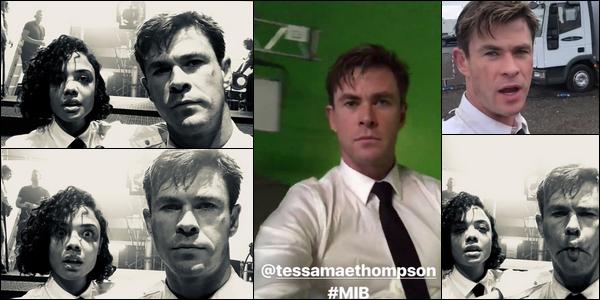 Chris a partagé des photos avec Tessa Thompson sur le tournage de « Men in Black »