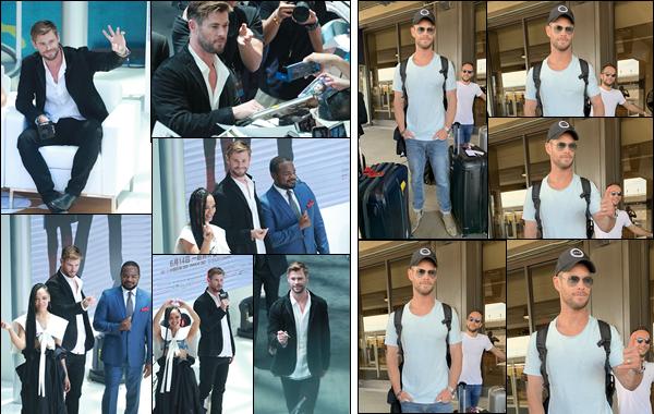 09.06.2019   ▬ Chris était à la conférence de presse pour « Men In Black International »  à Beijing en Chine   Dans la même journée c'est à l'aéroport de Newark que l'on retrouve Chris Hemsworth chargé de ses deux valises