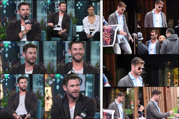 13.06.2019   ▬ Chris Hemsworth s'est rendu au « Build Studio »  pour la promo de Men in Black à New York   Dans la même journée Chris Hemsworth a été aperçu quittant son hôtel également situé dans la ville de New York
