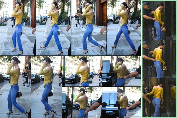 - '-26/07/17-' ◘Kendall Jenner a été aperçue alors qu'elle quittait l'appartement de Daniel Chetrit, à Manhattan. Plus tard, Kendall a été photographiée alors qu'elle venait d'arriver devant des bureaux situés à Manhattan. Pour ce look, je donne un bof. -