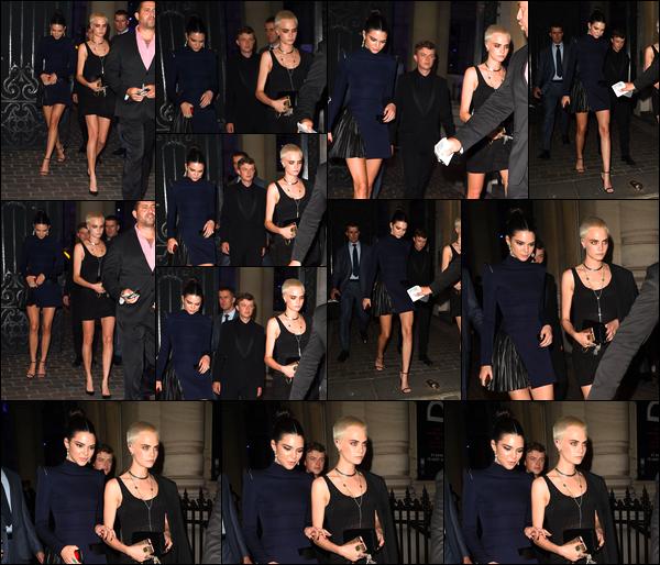 - '-04/07/17-' ◘Kendall Jenner & Cara Delevingne ont été photographiées quittant la soirée de « Vogue », Paris. C'est aux côtés de son amie & mannequin/actrice Cara présente à Paris pour la promotion de son film que nous retrouvons Kendall, top ! -