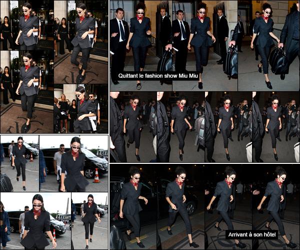 - '-03/07/17-' ◘Kendall Jenner a été vue alors qu'elle quittait l'hôtel «Four Seasons Hotel George V», à Paris. Un petit peu plus tard, notre belle Kendall a été photographiée alors qu'elle venait d'arriver au défilé « Miu Miu » ayant lieu à Paris, top ! -