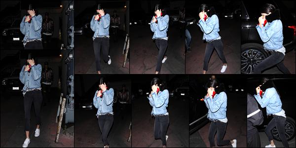- 12/04/17 : Kendall Jenner a été photographiée quittant le restaurant « Matsuhisa» situé à Bevery Hills. C'est dans un look décontracté, veste en jean que nous retrouvons notre charmante Kendall à qui j'accorde par ailleurs un léger top ! -