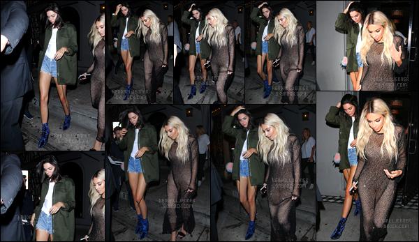 - 26/08/16:Kendall a été aperçue alors qu'elle arrivait au restaurant « The Nice Guy », West Hollywood. Kendall Jenner a également été photographiée alors qu'elle quittait le restaurant. Un beau top pour sa tenue, hormis ses chaussures ! -